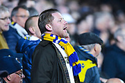 A Leeds United fan cheers his team on during the EFL Sky Bet Championship match between Leeds United and West Bromwich Albion at Elland Road, Leeds, England on 1 March 2019.