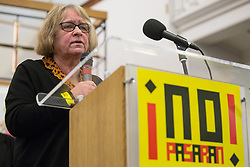 London, UK. 2nd March, 2019. Lindsey German, Convenor of Stop the War Coalition, addresses the ¡No Pasaran! Confronting the Rise of the Far-Right conference at Bloomsbury Central.