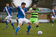Forest Green's Rob Sinclair and Eastleigh's Mike Green during the Vanarama National League match between Forest Green Rovers and Eastleigh at the New Lawn, Forest Green, United Kingdom on 20 February 2016. Photo by Shane Healey.