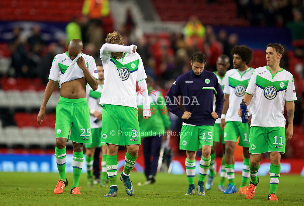 MANCHESTER, ENGLAND - Wednesday, September 30, 2015: VfL Wolfsburg's Nicklas Bendtner looks dejected after his side's 2-1 defeat to Manchester United during the UEFA Champions League Group B match at Old Trafford. (Pic by David Rawcliffe/Propaganda)