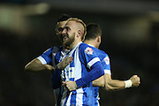 Brighton striker Jiri Skalak (38) scores and celebrates making it 2-0 during the Sky Bet Championship match between Brighton and Hove Albion and Queens Park Rangers at the American Express Community Stadium, Brighton and Hove, England on 19 April 2016.