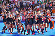 Netherlands team celebrate after winning the shoot out (3-1) during the Vitality Hockey Women's World Cup 2018 Semi-Final match between the Netherlands and Australia, at the Lee Valley Hockey and Tennis Centre, QE Olympic Park, United Kingdom on 5 August 2018. Picture by Martin Cole.