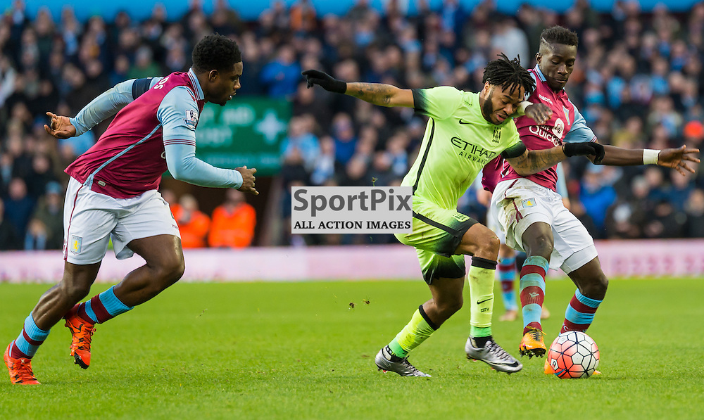 Aston Villa defender Micah Richards (4), Manchester City midfielder Raheem Sterling (7) and Aston Villa midfielder Jordan Veretout (17) challenge for a loose ball in the FA cup 4th Round game between Aston Villa and Manchester City<br /> <br /> (c) John Baguley | SportPix.org.uk
