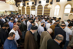 © Licensed to London News Pictures. 14/07/2017. London, UK. Mourners pray for Grenfell Tower fire victim Mr Ali Jafari at the Hussaini Islamic Mission. Mr Jafari, 82, was killed in the fire that destroyed Grenfell Tower in June. Photo credit: Peter Macdiarmid/LNP