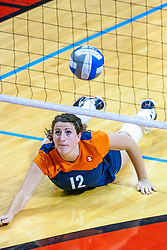 16 SEP 2008: Lizzie Bazetta polishes the floor looking for a dig and save during  a match at Redbird Arena on the campus of Illinois State University in Normal Illinois.  The Illinois State Redbirds went toe to toe with the University of Illinois Illini but in the end were outpaced by the 23rd ranked Division 1 Illini team 3 sets to 1.