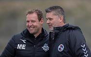 Cheftrænerne Morten Eskesen (FC Helsingør) og Lars Feist (Holbæk B&I) før kampen i 2. Division mellem Holbæk B&I og FC Helsingør den 20. oktober 2019 i Holbæk Sportsby (Foto: Claus Birch).