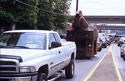 Stock photo of the Trojan horse car driving in traffic
