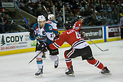KELOWNA, CANADA - APRIL 08:  Kelowna Rockets right wing Rodney Southam #17, Portland Winterhawks defenseman Conor MacEachern #4 at the Kelowna Rockets game on April 08, 2017 at Prospera Place in Kelowna, British Columbia, Canada.  (Photo By Cindy Rogers/Nyasa Photography,  *** Local Caption ***