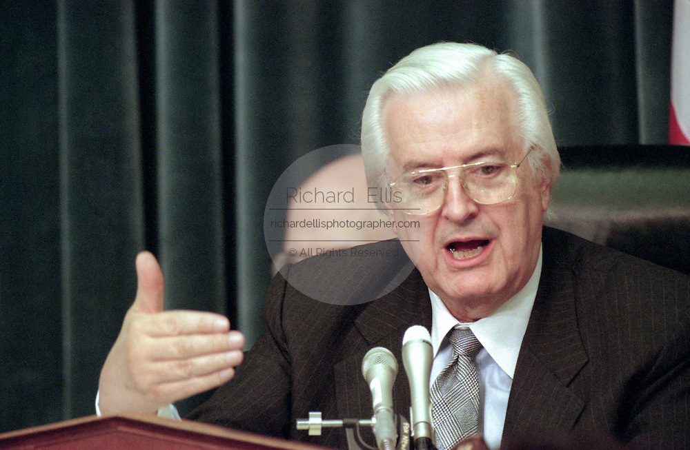 Chairman Rep. Henry Hyde during House Judiciary Committee hearings on whether impeachment proceedings should begin against President Bill Clinton October 5, 1998 in Washington, DC. This is only the third time in US history that impeachment proceedings against a President have been brought to the House committee.
