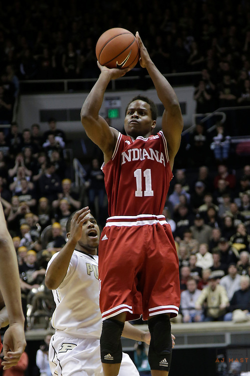 15 February 2014: Indiana Guard Kevin Yogi Ferrell (11) as the Indiana Hoosiers played the Purdue Boilermakers in a college basketball game in West Lafayette, Ind.
