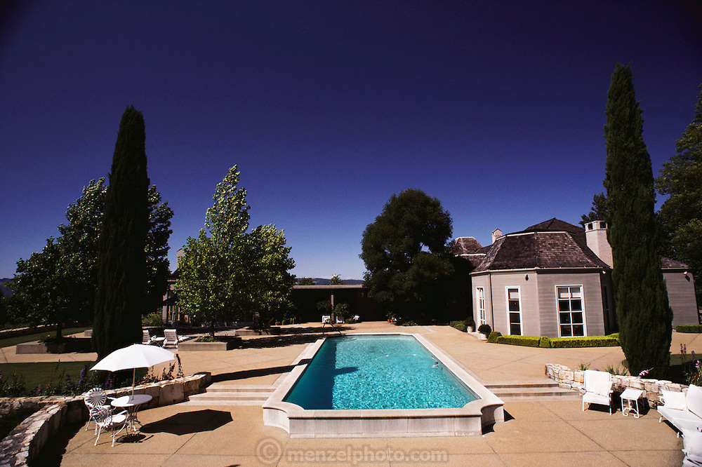 Sonoma County, California home with pool and gardens designed by Thomas Church. USA.