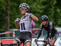 Coryn Rivera of Team Sunweb celebrates her victory in the Prudential RideLondon Classique 29/07/2017<br /> <br /> Photo: Jon Buckle/Silverhub for Prudential RideLondon<br /> <br /> Prudential RideLondon is the world&rsquo;s greatest festival of cycling, involving 100,000+ cyclists &ndash; from Olympic champions to a free family fun ride - riding in events over closed roads in London and Surrey over the weekend of 28th to 30th July 2017. <br /> <br /> See www.PrudentialRideLondon.co.uk for more.<br /> <br /> For further information: media@londonmarathonevents.co.uk