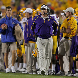 Oct 10, 2009; Baton Rouge, LA, USA; LSU Tigers head coach Les Miles walks the sideline during a game against the Florida Gators at Tiger Stadium. Florida defeated LSU 13-3. Mandatory Credit: Derick E. Hingle-US PRESSWIRE