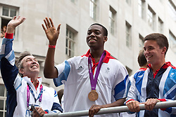 © Licensed to London News Pictures.10/09/2012 LONDON UK.London 2012 Parade of Champions. Lutalo Muhammad, Taekwondo Bronze Medal Winner..Olympic and Paralympic  Medalist and  Athelet's from the London2012 Olympic Games are paraded along Fleet St in the Parade of Champions  Photo credit : Andrew Baker/LNP