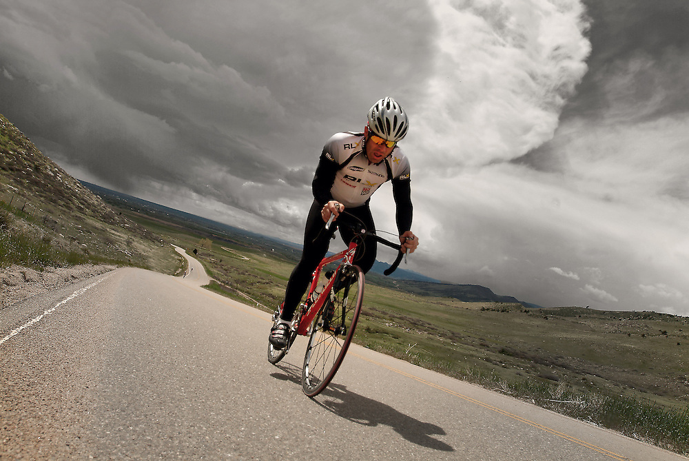 Biker doing Time Trials in Boulder Colorado. Denver Fitness Photographer - Denver Fitness Photographers