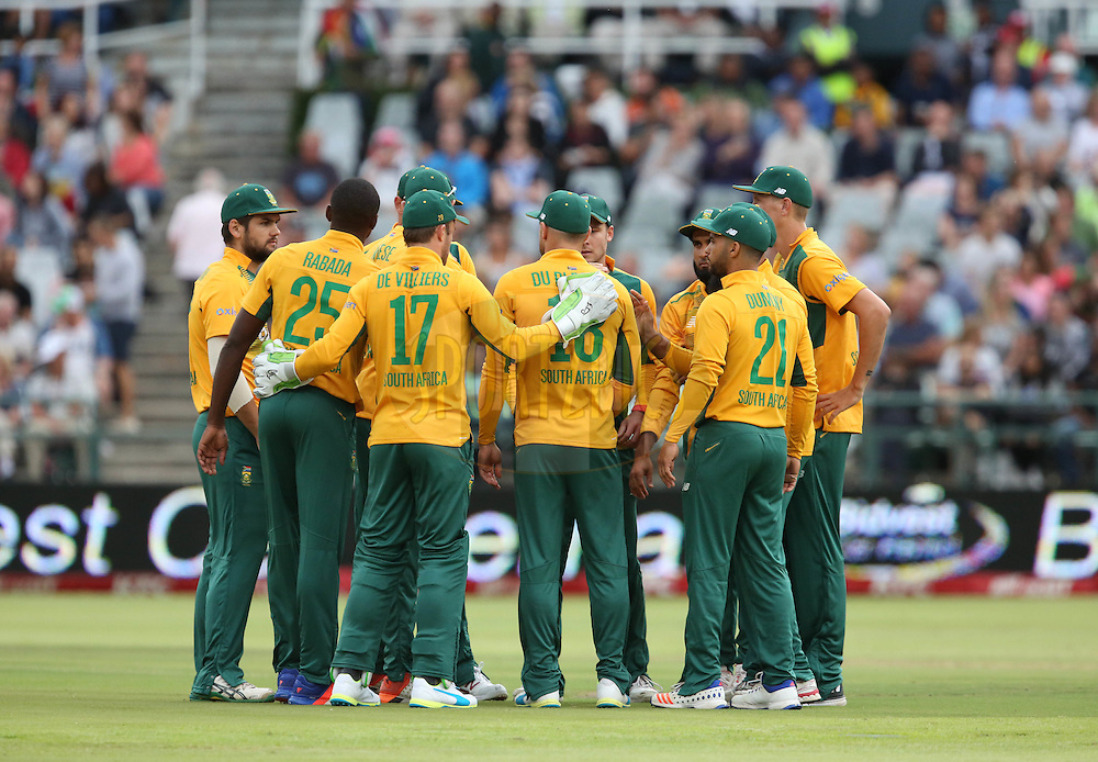 The South african cricket team during the First KFC T20 Match between South Africa and England played at Newlands Stadium, Cape Town, South Africa on February 19th 2016