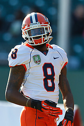 Dec 31, 2011; San Francisco CA, USA; Illinois Fighting Illini wide receiver A.J. Jenkins (8) warms up before the game against the UCLA Bruins at AT&T Park. Illinois defeated UCLA 20-14. Mandatory Credit: Jason O. Watson-US PRESSWIRE