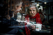 San Francisco, April 3 2012 - Jack Hirschman, 78, an American poet and social activist who has written more than 50 volumes of poetry and essays, at the Caffe Trieste.
