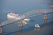 Cruise ship approaching Key Bridge with the Pride of Baltimore , Baltimore Maryland