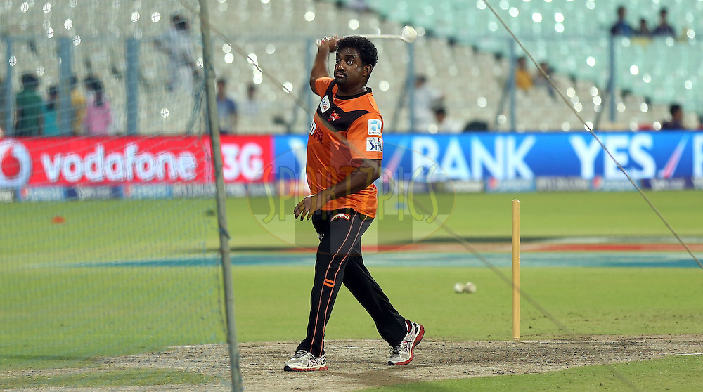 Muttiah Muralitharan sunrisers coach before the match 38 of the Pepsi IPL 2015 (Indian Premier League) between The Kolkata Knight Riders and The Sunrisers Hyderabad held at Eden Gardens Stadium in Kolkata, India on the 4th May 2015.<br /> <br /> Photo by:  Sandeep Shetty / SPORTZPICS / IPL