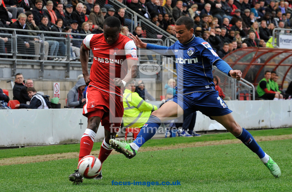 Picture by Alan Stanford/Focus Images Ltd +44 7915 056117.27/04/2013.Moses Odubajo of Leyton Orient and Connor Brown of Oldham Athletic during the npower League 1 match at the Matchroom Stadium, London.. .