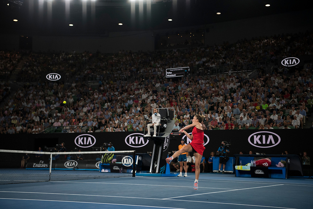 Simona Halep of Romania during the women's singles championship match during the 2018 Australian Open on day 13 in Melbourne, Australia on Saturday night January 27, 2018.<br /> (Ben Solomon/Tennis Australia)