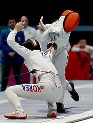 JAKARTA, Aug. 24, 2018  Zhu Mingye (R) of China competes with Choi Injeong of South Korea during the Women's Epee Team final in the 18th Asian Games in Jakarta, Indonesia, Aug. 24, 2018. (Credit Image: © Wangyuguo/Xinhua via ZUMA Wire)