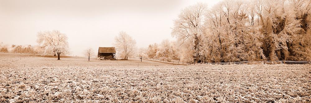 Isolated barn, early morning, near Trey in Switzerland
