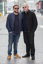 © Licensed to London News Pictures . 19/03/2015 . Salford Quays , UK . Shaun Ryder and Alan McGee . Black Grape photocall at The Green , Salford Quays , Greater Manchester . Black Grape are reforming for a Madchester charity gig along with other local bands , to raise awareness for Bez's Reality Party and anti-fracking . Photo credit : Joel Goodman/LNP