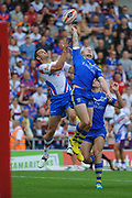 Warrington Wolves Rhys Evans and Wakefield Trinity Wildcats Craig Hall compete for a high ball during the Ladbrokes Challenge Cup Semi-Final  match Warrington Wolves -V- Wakefield Trinity Wildcats at , Leigh, Greater Manchester, England on Saturday, July 30, 2016. (Steve Flynn/Image of Sport)
