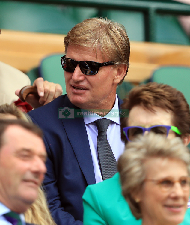 Golfer Ernie Els in the royal box on day seven of the Wimbledon Championships at The All England Lawn Tennis and Croquet Club, Wimbledon.