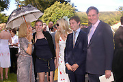 Elizabeth Aitken ( Harris) Victoria, Alexandra, William and Jonathan Aitken,. Marriage of Emilia Fox to Jared Harris. St. Michael's and All Angels. Steeple. Nr. Wareham. Dorset. 16 July 2005. ONE TIME USE ONLY - DO NOT ARCHIVE  © Copyright Photograph by Dafydd Jones 66 Stockwell Park Rd. London SW9 0DA Tel 020 7733 0108 www.dafjones.com