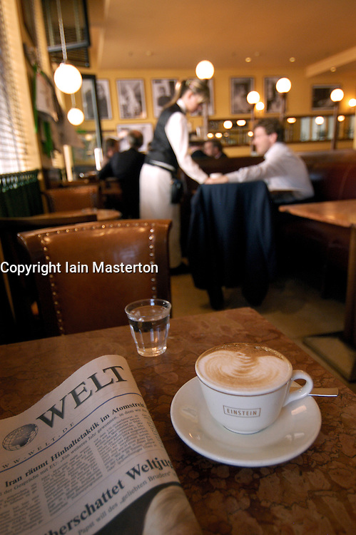 Interior of famous Einstein Cafe on Unter Den Linden in central Berlin Germany