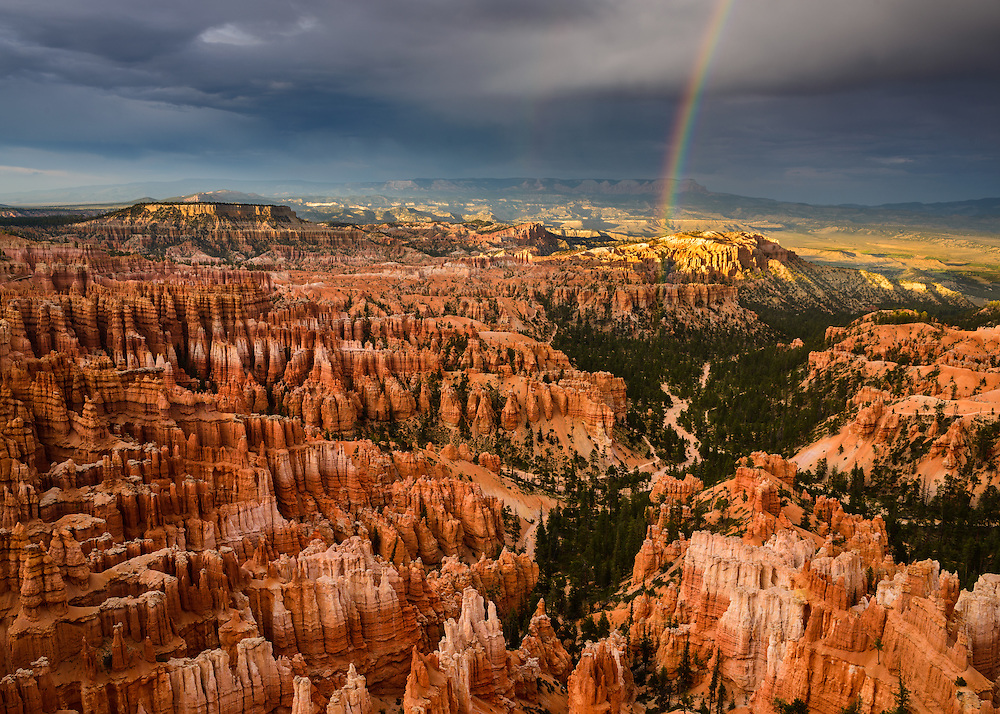 A rainbow over Bryce Canyon National Park in Utah.