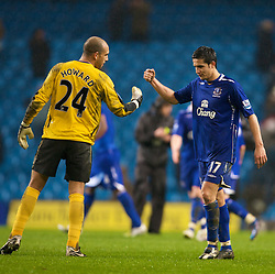 MANCHESTER, ENGLAND - Monday, February 25, 2008: Everton's Tim Cahill celebrates with goalkeeper Tim Howard after his side's 2-0 victory over Manchester City during the Premiership match at the City of Manchester Stadium. (Photo by David Rawcliffe/Propaganda)