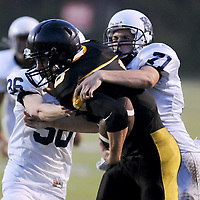 Topsail's Nick Altilio rushes against Swansboro in the third game of The Pender County Jamboree Saturday August 16, 2014 at Trask High School. (Jason A. Frizzelle)