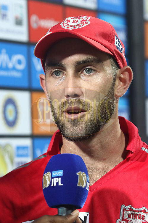 Man of the Match Kings XI Punjab captain Glenn Maxwell during match 4 of the Vivo 2017 Indian Premier League between the Kings XI Punjab and the Rising Pune Supergiant held at the Holkar Cricket Stadium in Indore, India on the 8th April 2017<br /> <br /> Photo by Shaun Roy - IPL - Sportzpics
