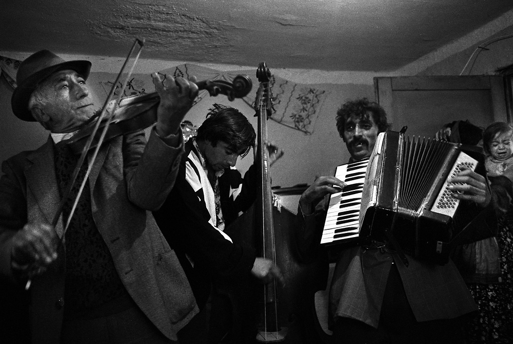 Title: 'Taraf de Hadouks' - renowned Gypsy musicians from Clejani, Wallachia, Romania. August 1996...