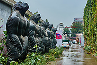 Beijing , China - September 23, 2014 :  statues sculptures in the streets of the 798 Art District zone aera in Beijing China