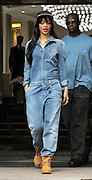 26.JUNE.2012. LONDON<br /> <br /> RIHANNA LEAVING HER LONDON HOTEL DRESSED IN AN ALL IN ONE DENIM JUMPSUIT.<br /> <br /> BYLINE: EDBIMAGEARCHIVE.CO.UK<br /> <br /> *THIS IMAGE IS STRICTLY FOR UK NEWSPAPERS AND MAGAZINES ONLY*<br /> *FOR WORLD WIDE SALES AND WEB USE PLEASE CONTACT EDBIMAGEARCHIVE - 0208 954 5968*
