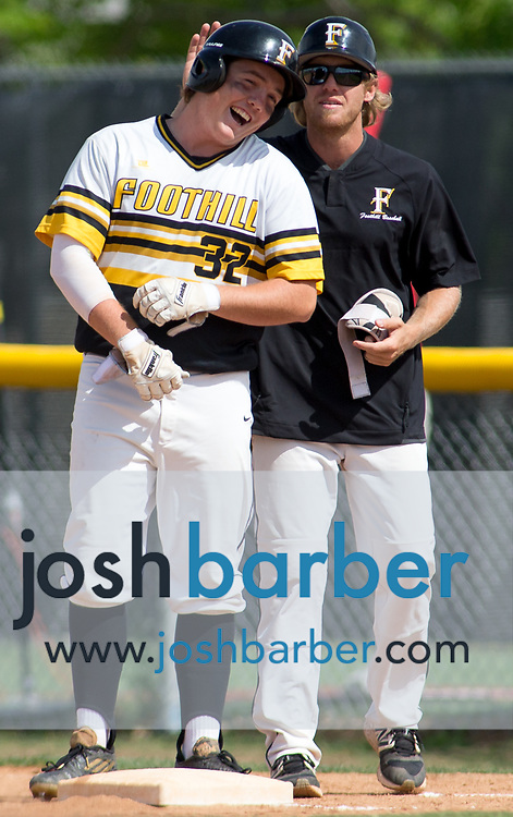Foothill's Camden Cougnet and Jordan Foreman during a Crestview League game at Foothill High School on Friday, May 5, 2017 in North Tustin, Calif. Foothill won 4-2. (Photo by Josh Barber, Contributing Photographer)