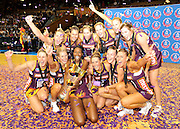 Firebirds celebrate the unbeaten season ~ Netball action from ANZ Championship Grand Final - Queensland Firebirds v Northern Mystics - played at the Brisbane Convention Centre on Sunday 22nd May 2011 ~ Photo : Steven Hight (AURA Images) / Photosport