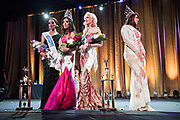LOS ANGELES, CA - OCTOBER 22, 2016:  <br /> <br /> This years winners were Fontasia (Mississippi) who won second runner up, Kataluna Enriquez (California) who was crowned queen, and Kylie Love (Georgia) who was the first runner up at the Transnation Queen USA 2016 pageant, a transgender beauty pageant held at The Theater at The Ace Hotel in downtown Los Angeles. Miss Hailie Sahar, right, Queen USA 2015, passed on her title and the crown to Enriquez this year.<br /> <br /> (Melissa Lyttle for The Guardian)