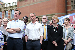 © Licensed to London News Pictures . 22/06/2016 . Birmingham , UK . British Conservative Party Prime Minister David Cameron , Tim Farron and Paddy Ashdown from the Liberal Democrat Party, Harriet Harman from the Labour Party and Brendan Barber of ACAS,  attend a joint rally at Birmingham University in support of the REMAIN in EU campaign , ahead of referendum polling opening tomorrow morning (23rd June 2016) . Photo credit: Joel Goodman/LNP