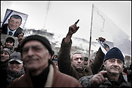 """Thousands of opposition protesters have gathered in Tbilisi, Georgia on 06 January, 2008, alleging vote-rigging. Opposition leader Levan Gachechiladze - the most prominent of the five other presidential candidates told the crowd in Tbilisi: """"We face terror and will defend our vote by legal means."""" Early results suggest President Mikhail Saakashvili won, but it is unclear if he did well enough to avoid a run-off. But opposition leader Levan Gachechiladze said the exit polls had been """"falsified"""". They suggested President Saakashvili won more than 53% of the vote and Mr Gachechiladze 28%."""