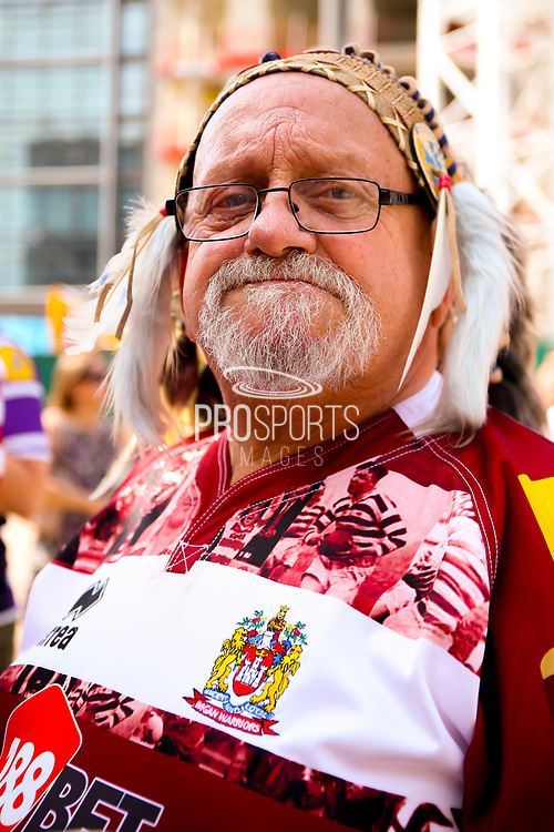 Wigan fan during the Ladbrokes Challenge Cup Final 2017 match between Hull RFC and Wigan Warriors at Wembley Stadium, London, England on 26 August 2017. Photo by Simon Davies.
