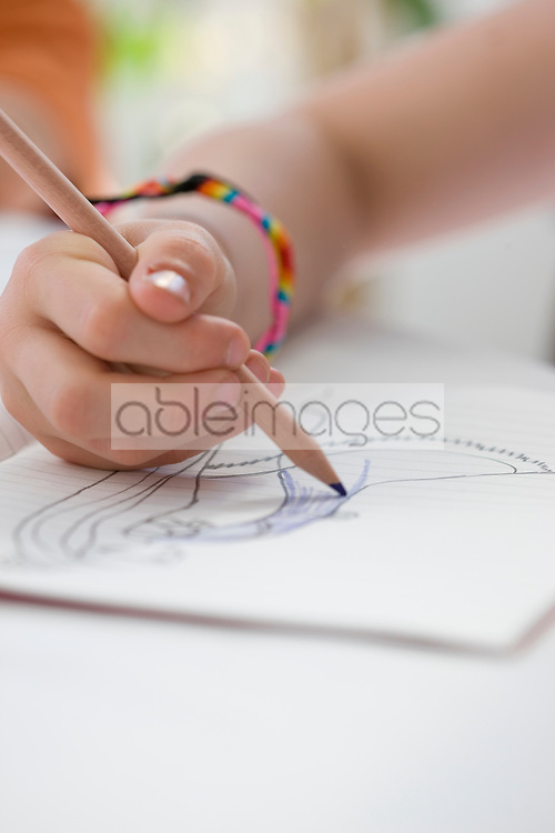 Close up of Girl's Hand Drawing