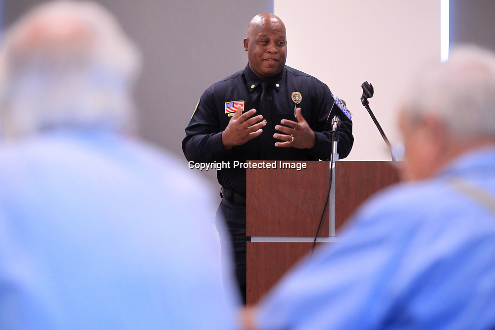 Major Anthony Hill, with the Tupelo Police Department, addresses the Police Advisory Board during their first meeting Tuesday morning in the community room at the Tupelo Police Department.