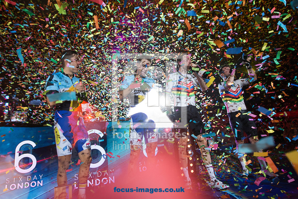 Confetti blows high into the air as (left to right) Kenny De Ketele, Moreno De Pauw, Sir Bradley Wiggins and Mark Cavendish celebrate  on day six of the Six Day cycling series at Lee Valley VeloPark, London, UK<br /> Picture by Ryan Dinham/Focus Images Ltd +44 7900 436859<br /> 30/10/2016