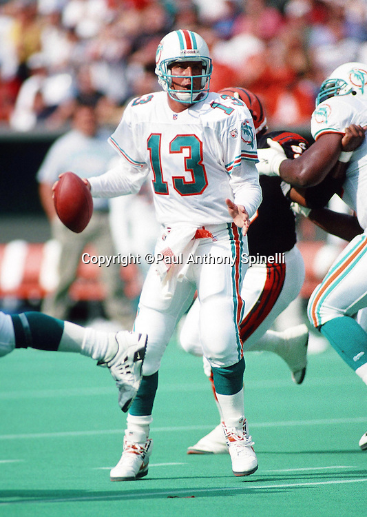 Miami Dolphins quarterback Dan Marino (13) drops back to pass during the NFL football game against the Cincinnati Bengals on Oct. 1, 1995 in Cincinnati. The Dolphins won the game 26-23. (©Paul Anthony Spinelli)